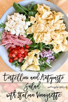 This easy Tortellini and Antipasto Salad with Italian Vinaigrette is a light yet hearty lunch that can be made ahead of time. The homemade Italian Vinaigrette pairs perfectly with the delicious tortellini and antipasto bites! Easy Healthy Lunch Ideas | Easy Recipes | Meal Prep | Meal Planning | Lunch Ideas | Lunch Meal Prep | Lunch Recipes | Lunch Ideas Work | Lunch Ideas for Home | Lunch Meal Prep for the Week | Easy Healthy Meals | Easy Healthy Meal Prep | Homemade Italian Vinaigrette… Easy Healthy Meal Prep, Healthy Salads, Easy Healthy Recipes, Lunch Recipes, Easy Dinner Recipes, Salad Recipes, Delicious Recipes, Antipasto Salad, Lunch Meal Prep