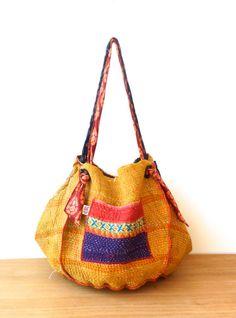 reversible kantha bag twoway vintage kantha quilt by fairlyworn, $56.00