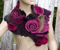 Crochet Scarf Freeform crochet Roses Button Womens scarf от Degra2