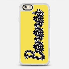 """Bananas"" Typography on Yellow - protective iPhone 6 phone case in Clear and Clear by BlackStrawberry #food 