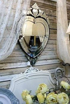 Claddagh heart mirror.vintage love.