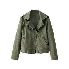 Army Green Oblique Zipper Jacket (190 BRL) ❤ liked on Polyvore featuring outerwear, jackets, green zip jacket, green camo jacket, olive green jacket, green zipper jacket and zipper jacket