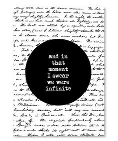 Love this 'And in That Moment I Swear We Were Infinite' Wall Art on #zulily! #zulilyfinds