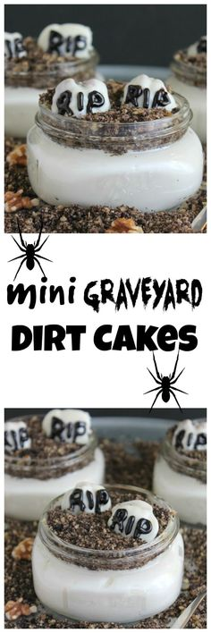 "These no-bake dirt cakes are a Halloween spin on a summer favorite. Yogurt is layered with walnut and cookie ""dirt"" then topped with walnut gravestones. Healthy Halloween, Halloween Desserts, Halloween Cakes, Halloween Treats, Spooky Halloween, Halloween Baking, Halloween Foods, Fall Recipes, Holiday Recipes"