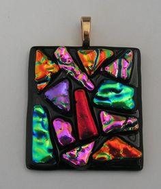 HANDMADE DICHROIC + ART GLASS FREEFORM PENDANT :  PURE MOSAIC MAGIC !