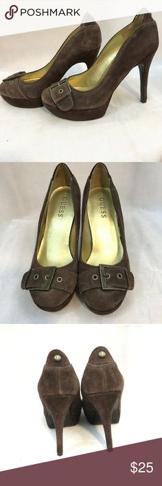 GuessBrown buckle heels Adorable buckled brown suede heels by guess. Pre-loved but in great condition Guess Shoes Heels