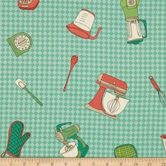 Kitschenette Tossed Kitchen Tools Aqua from @fabricdotcom  Designed by Claudine Hellmuth for Andover Fabrics, this cotton print is perfect for quilting, apparel and home decor accents.  Colors include white, soft black, grey, red, coral pink and shades of green.