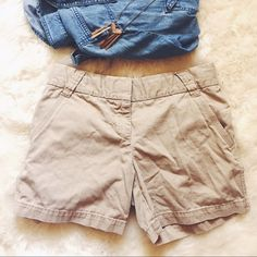 +BF SALE+J. Crew Classic Chino Khaki Shorts These are a wardrobe basic must-have! Wear with anything! Dress up or down! These shorts are in great condition, but have one small rip (see pic 4). The rip didn't create a hole, so would be very easily repaired. These shorts are the khaki color, pic 1 is to show the fit. J. Crew Shorts