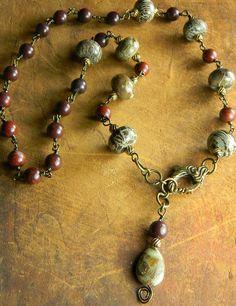 Snake Skin Jasper Necklace Artisan Bronze Red by ChrysalisToo, $79.00