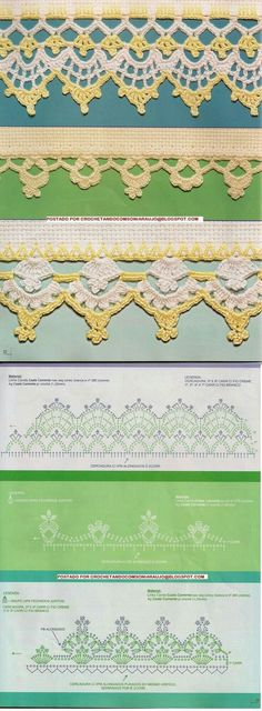 This Pin was discovered by jra Crochet Diagram, Crochet Chart, Thread Crochet, Crochet Motif, Crochet Doilies, Crochet Flowers, Crochet Lace, Crochet Boarders, Crochet Blanket Edging