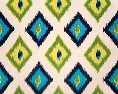 Carnival Sunshine Ikat Diamonds Home Decor Fabric by greysfabric. , via Etsy.