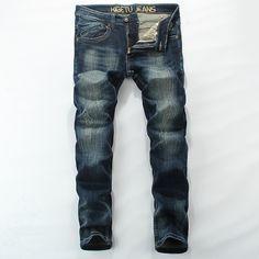 Mid Stripe Men`s Blue Jeans Ripped Slim Fit Denim Pants High Quality Brand Clothing Simple Designer Moto Biker Jeans Men RL627 #Affiliate