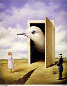 De vogel lijkt net echt het lijkt alsof hij uit de deur gaat door dat het meisje verder loopt en hem vast heeft.