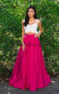 Long Sweetheart Two Piece Simple A Line Train Prom Dress 50458  50458  -   168.00 58d339fea436