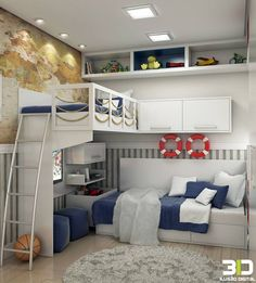 Designing a kids' bedroom and then decorating it aptly is both a time consuming and costly affair. Girls Bedroom, Bedroom Decor, Boy Bedrooms, Bunk Bed Designs, Kids Room Design, Home And Deco, Awesome Bedrooms, New Room, Small Rooms