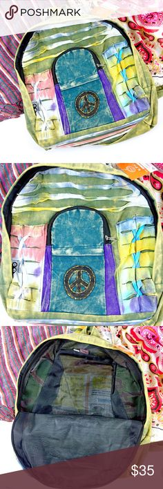 "Handmade Multi color Peace Sign Coachella Backpack Beautiful backpack handcrafted from handmade materials featuring peace sign patch work and multi print/colors. 100% cotton and hand washable. Front pouch with zippered pocket make this an easy choice for Coachella, concerts, school, gym time or any activity. Lightweight but durable with adjustable straps.  Height approx 16"" width approx 14"" Brand new with tags- front pocket is missing end of zipper but fully functional  Coachella / concerts…"