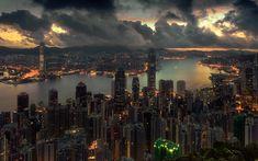 Télécharger fonds d'écran Hong Kong, ville de soirée, panorama, paysage urbain, la Chine, l'Asie