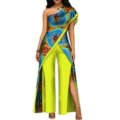 2018 New Autumn African Pant Set For Women Sexy Off Shoulder Jumpsuit Dashiki Clothing Batik Wax African Jumpsuit, African Dress, African Fashion Ankara, African Print Fashion, African Traditional Dresses, Traditional Outfits, African Tops, Off Shoulder Jumpsuit, African Attire