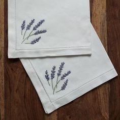 Lavender white cotton embroidered napkins and placemats