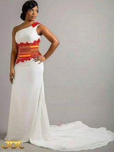 Ghana Wedding Dress, African Wedding Attire, African Attire, African Dresses For Women, African Print Dresses, African Fashion Dresses, Ghanaian Fashion, African Prints, African Women