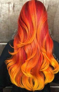 Rojo fuego Hair Color 2016, Yellow Hair Color, Bright Hair Colors, Cool Hair Color, Hair Colours, Colorful Hair, Fire Hair Color, Bold Colors, Fire Ombre Hair