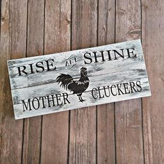 Farmhouse Decor, Rooster Decor, Rustic Sign, Farmhouse Sign, Gift for Her, Chicken Decor, Christmas Gift, Mother Cluckers, by RossCreativeStudio on Etsy
