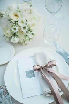 blush and taupe ribbon place setting