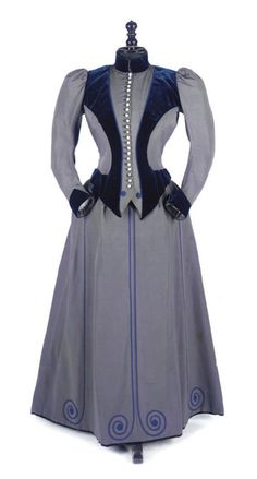 fripperiesandfobs:    Walking dress ca. 1890's  From Christie's    Holy God I love this