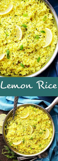 Lemon Rice - Delicious way to turn plain rice into an exotic dish Healthy and easy to make Lemon Rice is the perfect side dish to go with fish chicken lamb and veggies rice Side Dishes For Fish, Side Dishes For Chicken, Rice Side Dishes, Fish And Chicken, Greek Dishes, Healthy Side Dishes, Side Dishes Easy, Food Dishes, Sides With Fish
