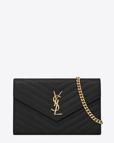 Saint Laurent Monogram Saint Laurent Chain Wallet In Black Grain De Poudre Textured Matelassé Leather | ysl.com