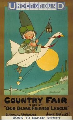 By Mabel Lucie Attwell, 1912, Country Fair, London Underground.