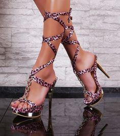 Sexy High Heels Platform strappy sandal womens Leo Shoes size EU 36-41 US 6-11 #St #PlatformsWedges