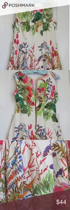 """Zara Floral Dress - Bright Tropical Print Zara dress with a gorgeous floral tropical print on a cream background. Vibrant pinks, greens, blues, oranges, reds, purples...! Scoop neck front and neat V back with a gold exposed zipper. Measures approx. 16"""" armpit to armpit and 33"""" shoulder to hem. Fully lined. There is a little pulled thread in a cream section but I couldn't find anything else. Perfect for a wedding, church, cocktails, or a special event. Zara Dresses"""