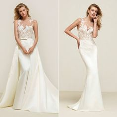 Pronovias   A versatile mermaid wedding dress with lace embroidered bodice. Pair it with the overskirt for a fairytale princess style.