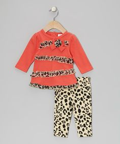 Another great find on #zulily! Coral Leopard Ruffle Bow Tunic & Leggings - Infant #zulilyfinds