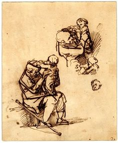 Sketches of an old man with a child; the man seated with the child standing on his knees and trying to remove his cap, another sketch, bust, of the same man holding the child in his arms, slight head sketches below. c.1639-40 Pen and brown ink, touched with brown wash, on light brown prepared paper