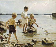 Albert Edelfelt: Leikkiviä poikia rannalla, 1884