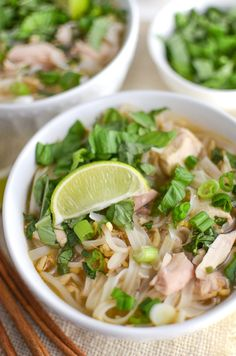 This easy, rotisserie chicken pho recipe is a quick version of the authentic Vietnamese soup. You can make the homemade broth as spicy as you want, and it can easily be made gluten free! #pho #rotiserriechicken