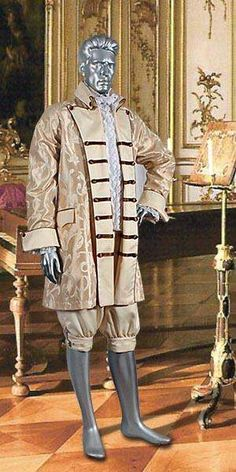 Between the 16th and 17th Centuries of the Baroque period men wore breeches, very similar to those shown in the image above. These breeches were baggy and almost resembled large wide skirts. These were called Rhinegraves and were said to be a Dutch or German creation. They also created the petticoat breeches. The petticoat breeches were worn loosely, and very low at the hips. Most move lookes as if they were about to lost their pants in petticoat breeches.