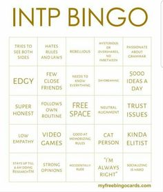MBTI Bingo cards: INTJ (I thought I had another version of this pinned but can't find it, alas! Cognitive Functions Mbti, Mbti Functions, Mbti Istj, Intj T, Intp Personality Type, Myers Briggs Personality Types, Personality Psychology, John Maxwell, Mbti Compatibility Chart