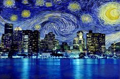 Boston, Massachusetts Starry Night Skyline #SKY102