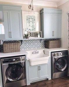 35 Awesome Diy Laundry Room Makeover With Farmhouse Style Ideas. If you are looking for Diy Laundry Room Makeover With Farmhouse Style Ideas, You come to the right place. Below are the Diy Laundry Ro. Laundry Room Remodel, Laundry Room Cabinets, Basement Laundry, Laundry Room Organization, Laundry Room Design, Diy Cabinets, Laundry Closet, Laundry Decor, Laundry Drying