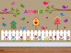Birdhouse Wall Decals for Girls Room - Little Birds