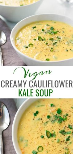 SUPER Creamy Cauliflower Kale Soup, only 8 ingredients and made in just 30 minutes or less! SUPER Creamy Cauliflower Kale Soup, only 8 ingredients and made in just 30 minutes or less! Kale Soup Recipes, Whole Food Recipes, Vegetarian Recipes, Cooking Recipes, Healthy Recipes, Recipes Dinner, Healthy Soups, Healthy Food, Vegan Spinach Soup Recipe