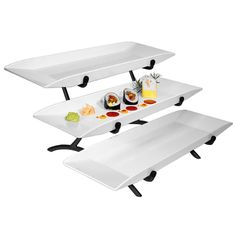 "Cal Mil SR1033-13 Black 3 Tier Metal Incline Stand with 3 Melamine Platters - 18"" x 23"" x 12"""