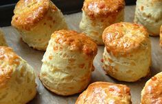 Gregoire's Cheese Scones (I've been using the be-ro recipe because it's easy with a kid but the rise on these looks incredible! Bbc Good Food Recipes, Bread Recipes, Baking Recipes, Yummy Food, Baking Scones, Savoury Baking, E Cooking, Savory Scones, Wholemeal Scones