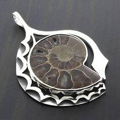 Sterling Silver Genuine Fossil (Ammonite) Pendant