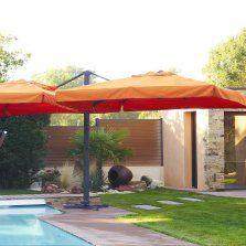 Parasol en aluminium - 2 toiles de 3x3 m coloris ORANGE. #parasol #détente #farniente #soleil #été