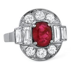 A beautiful ruby and diamond piece from the Retro era (approx. 1.88 ct. tw.).
