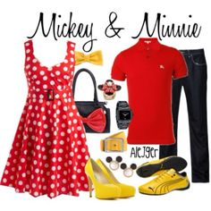 Easy Mickey and Minnie idea. Totally doing this when I go to Disney Disney Couple Outfits, Disney Dresses, Disney Clothes, Disney Cosplay, Dapper Day Outfits, Cute Outfits, Disneyland Outfit Summer, Disney Inspired Fashion, Disney Fashion